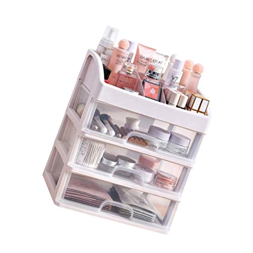 NICEXMAS - Organizzatore per trucco da ufficio con 3 cassetti, organizer per cosmetici, scomparti per vetrine, per la cancelleria, per cassettiera, camera da letto, bagno, ufficio