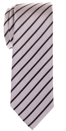 Retreez Cravate fine rayée en microfibre tissée - Argenté - Taille Unique