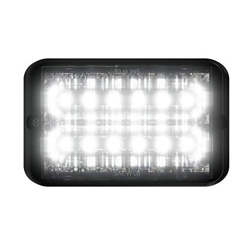 Abrams SAE Class-1 Bold 12 [White] 36W - 12 LED Emergency Vehicle Truck LED Grille Light Head Surface Mount Strobe Warning Light