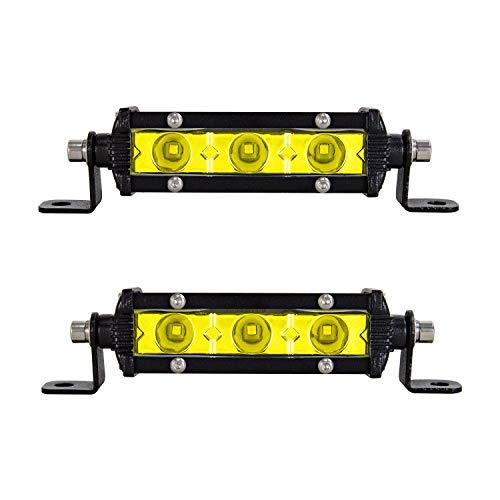 Willpower 2x LED Offroad Scheinwerfer 13cm 15W Gelbe Bernstein Einzelne Reihe Led Scheinwerfer Arbeitsscheinwerfer Bar 12V 24V Zusatzscheinwerfer 6000K IP67 Wasserdicht für Auto LKW Traktor Truck