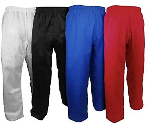 Knockout Fight Gear Karate Pants Taekwondo 7.5oz TKD Kids Adult Gi Pant Elastic Waist (1, White)