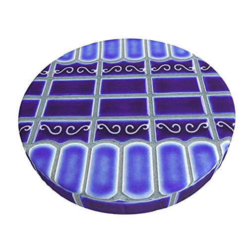 Funda De Cojín para Silla De Bar Redonda Azulejo De Mosaico De Porcelana Azul Cobalto Diseño De Barra Redonda Funda De Cojín para Silla Funda De Asiento Suave Antideslizante Protector Elástico
