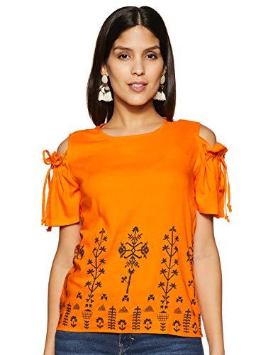 Styleville.in Women's Solid Regular Shirt (STSF402251_Orange M)