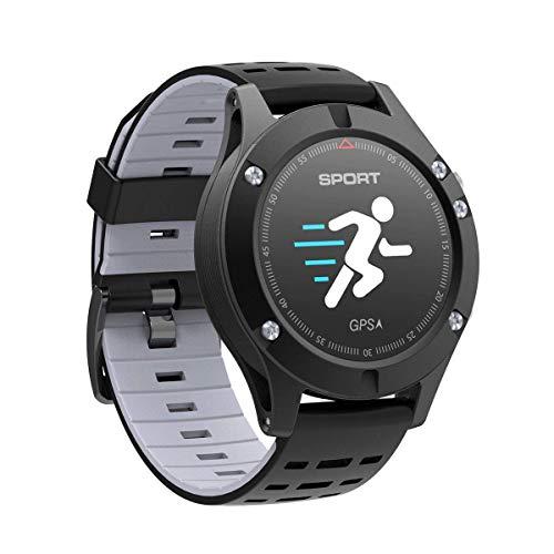 AsDlg Smartwatch, IP67, farbiges Display, wasserdicht, GPS-Armband, wasserdicht, Fitness-Tracker, Uhr, Herzfrequenz, Schritt, Schlaf, Temperatur, Multisport-Modus, kompatibel, Grau