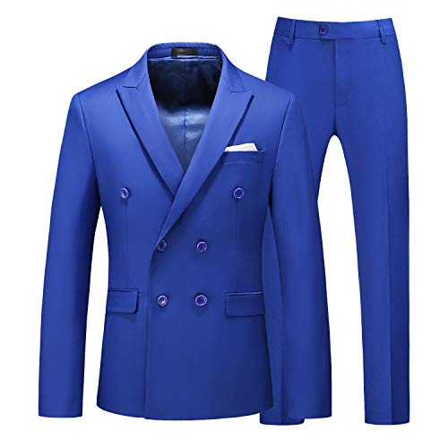 MOGU Mens 2 Piece Suit Slim Fit Double Breasted Blazer and Pants Solid Color Prom Tuxedo US Size 32 Regular (Asian L) Royal Blue