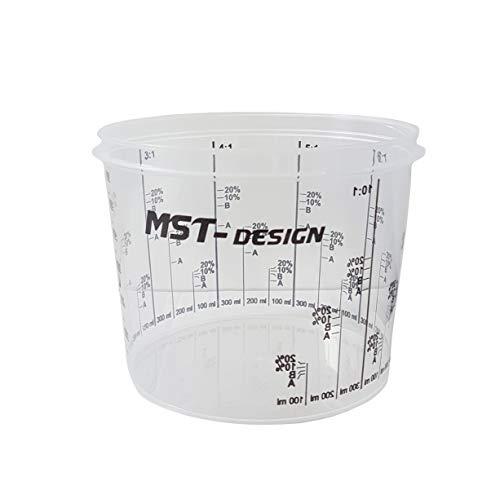 100 x Lackmischbecher 750 ml (0,75 L) I Einwegmischbecher I Messbecher Mischbecher von MST-Design I Anmischen von Farbe und Lack I Becher mit Skala I Lackieren Lack Lackierzubehör