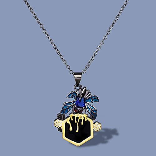 DOOLY Colgante de Oro Negro de araña de circonita Creativa, Collar de Insectos exagerado de Plata 925, Cadena de suéter de Fiesta de Esmalte Hecho a Mano