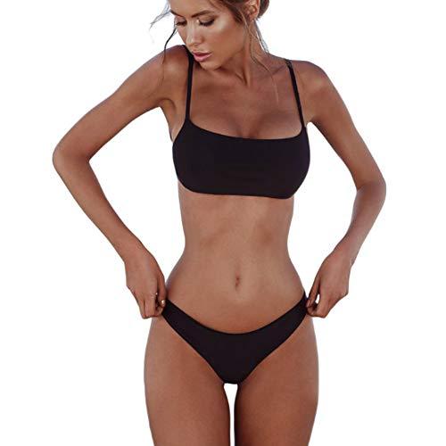 meioro Conjuntos de Bikinis para Mujer Push Up Bikini Traje de baño de Tanga de Cintura Baja Trajes de baño Adecuado Viajes Playa La Natacion (S, Negro)