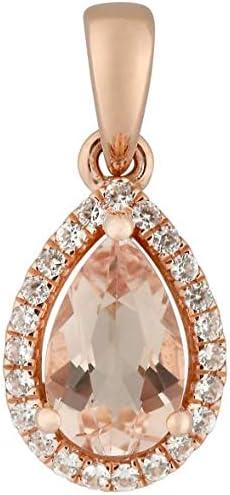 Ranking TOP20 Pinctore 10k Rose Gold Morganite and 2021 autumn winter new N Diamond Pendant Halo Pear