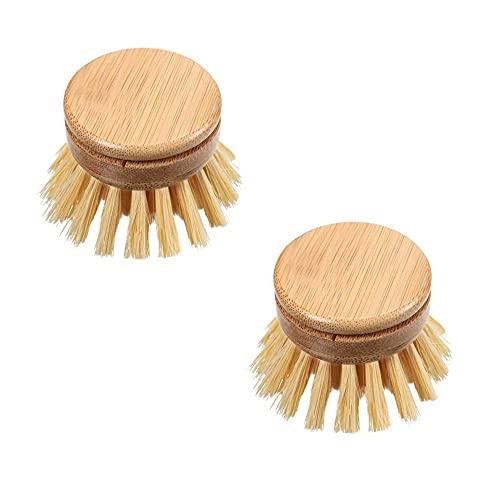 Shiwaki 2 uds cepillo de bambú para platos de cocina cepillo de limpieza de exfoliación de bambú Natural cepillo de Plato Natural para suministros de limpieza de habitación de cocina