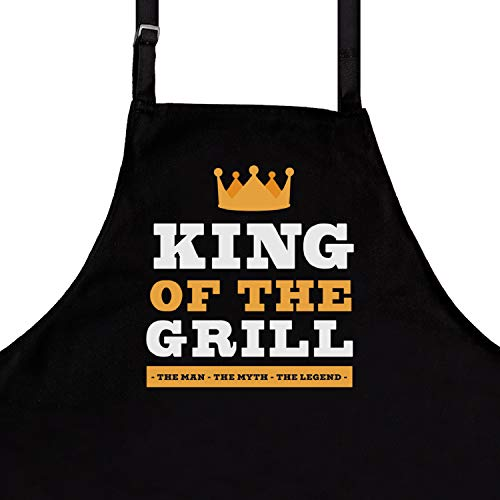 Nomsum BBQ Funny Aprons for Men | King of The Grill | One Size Fits All | Premium Quality Kitchen Apron for Men | Ideal BBQ Accessories | Chef Kitchen Grilling Apron
