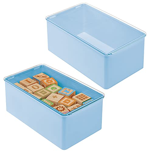 mDesign Playroom Stackable Plastic Storage Box with Lid for Organizing Baby/Child's/Kids Toys, Action Figures, Crayons, Markers, Blocks, Puzzles, Crafts, Crayons, Dog/Cat Toy Box, 2 Pack - Light Blue