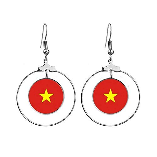Vietnam Nationale Vlag Azië Land Oorbellen Dangle Hoop Sieraden Drop Cirkel