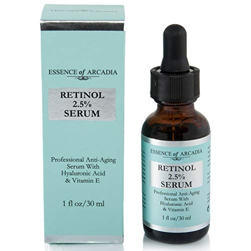 RETINOL 2.5% Serum, High Strength - Professional Anti- Aging Formula With Hyaluronic Acid and Vitamin E by Essence of Arcadia, Minimize Wrinkles, Fade Dark Spots