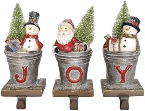 Comfy Hour 6 Resin Joy Santa Snowman Christmas Tree Set of 3 Stocking Hanger Multi Color product image