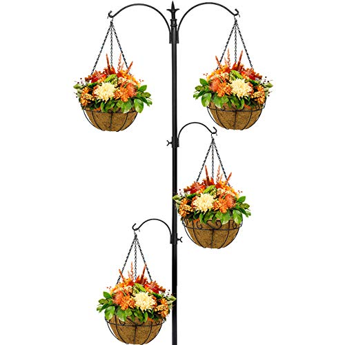 Sorbus Planter Basket Ground Stake, 3-Tier Shepherd's Hook, 4 Coco Liner Baskets Station for Hanging Flowers, Plants, Great Plant Hooks & Hangers for Outdoor Garden, Lawn, Over 7 Feet Tall (Black)