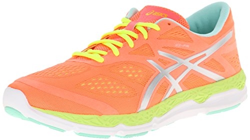 Asics 33-FA de la Mujer Running Shoe, Rojo (Coral/Flash Yellow/Mint), 38