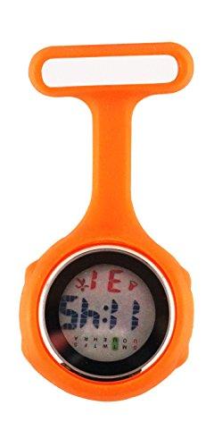 Ellemka - JCM-330 Reloj de Enfermera Digital para Profesionales de la Salud, Multifuncional, programable, con la Broche, CE, RoHS, su batería y Funda de Silicona, de Color Naranja.