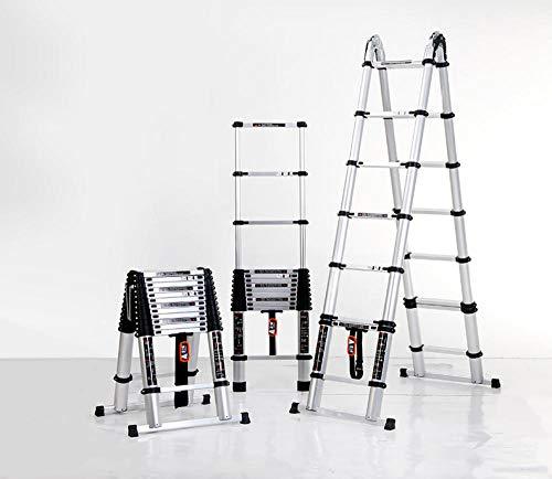 Escalera de extensión plegable portátil,Escalera telescópica, escalera plegable doméstica, escalera de ingeniería de aluminio multifunción -4.5m + 4.5m,Escalera telescópica de aluminio multiusos