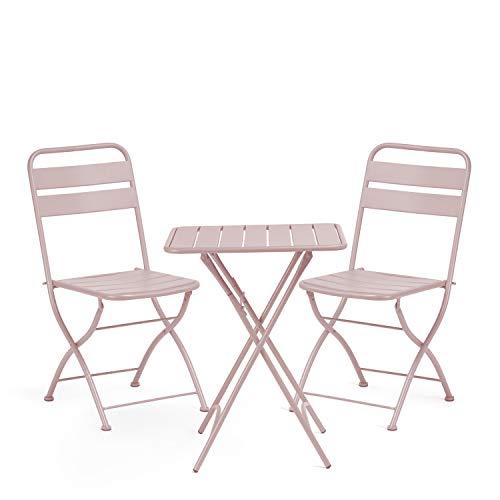 SKLUM Pack Mesa Plegable para Exterior (60x60 cm) Janti & 2 Sillas Plegables Janti Acero Malvavisco - (Elige Color)