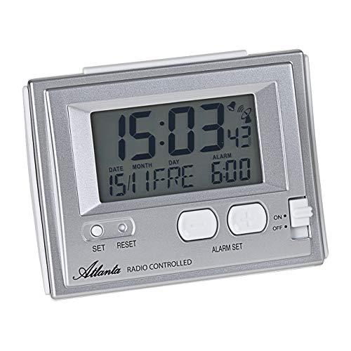 Atlanta Funkwecker Digital LCD-Anzeige Licht Temperatur Kalender Silber - 1808/19