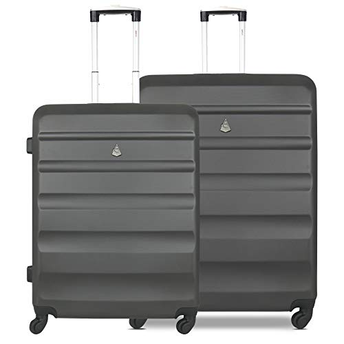 Aerolite Lightweight Hard Shell 4 Wheel Travel Medium 25in Plus Large 29in Hold Checked Check in 2 Piece Luggage Suitcase Set Charcoal