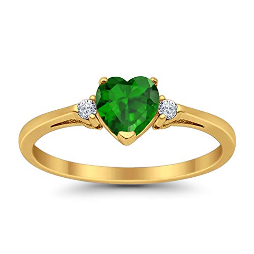 Blue Apple Co. Heart Promise Ring Simulated Green Emerald Round Cubic Zirconia Yellow Tone 925 Sterling Silver, Size - 7