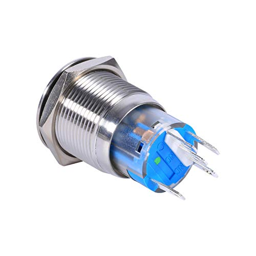 Interruptor de botón, Interruptor de botón de pestillo LED, Buena conductividad Compresión a largo plazo Coche(Green LED ring light)