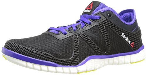 Reebok Women's ZQuick TR Lux Cross-Training Shoe,Black/Ultima Purple/Chalk/High Vis Green,7.5 M US
