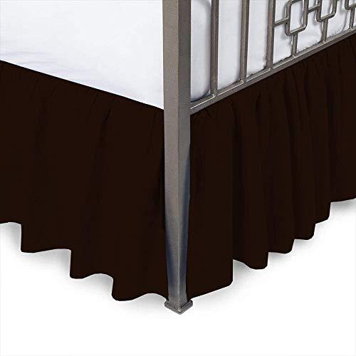 Falda de cama – falda de cama con volantes con esquinas divididas, doble, caída de 38 cm, envoltura marrón con plataforma de cobertura de tres lados falda de cama con volantes, 100% algodón, 800 hilos