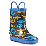 ZOOGS Children's Rubber Rain Boots, Little Kids & Toddler, Boys & Girls Patterns, Grey (Shark Fin), 10 Toddler