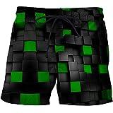 Beach Shorts,Summer Hawaiian Boardshorts Simple 3D Ilusión Óptica Pantalones Cortos De Playa A Cuadros Secado Rápido Transpirable con Bolsillos Bañador Informal Aloha Trajes para Vacaciones, Neg