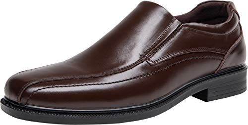 JOUSEN Men's Dress Shoes Leather Comfortable Business Loafers Slip On Shoes (10,Brown)