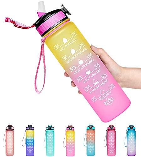 Botella de agua deportiva motivacional de 32 onzas con marcador de tiempo y pajita, boca ancha grande, duradera, sin BPA, no tóxica