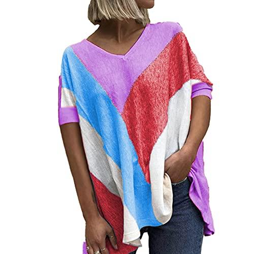 Mayntop Camiseta de verano para mujer con estampado de bloques de color, suelta, manga corta, mangas murciélago, cuello en V, blusa étnica, B-morado, 48
