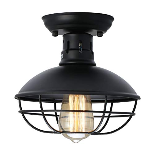 CSDM.AI Luz De Techo Retro, Industrial Jaula Metal Lámpara De Techo E27 Mini Semi-Empotrado Luminaria Colgante Domo/Bowl Lámpara En Forma De Luminaria para Interior Y Exterior