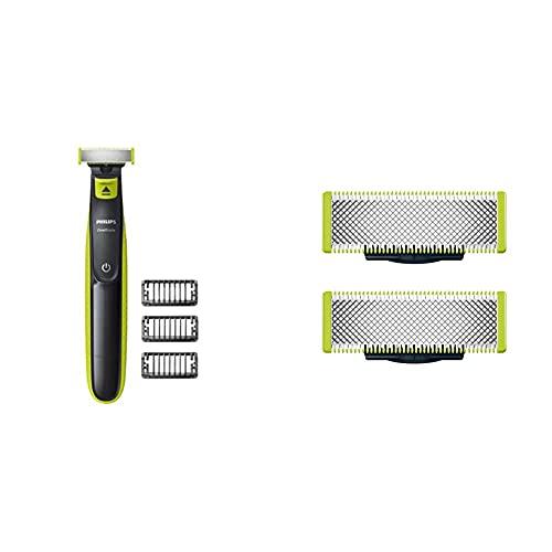 Philips QP2520/20 One Blade Rasierer, Bartschneider (abwaschbar, NiMH Technologie) hellgrün-dunkelgrau & OneBlade Ersatzklingen QP220/50, Doppelpack