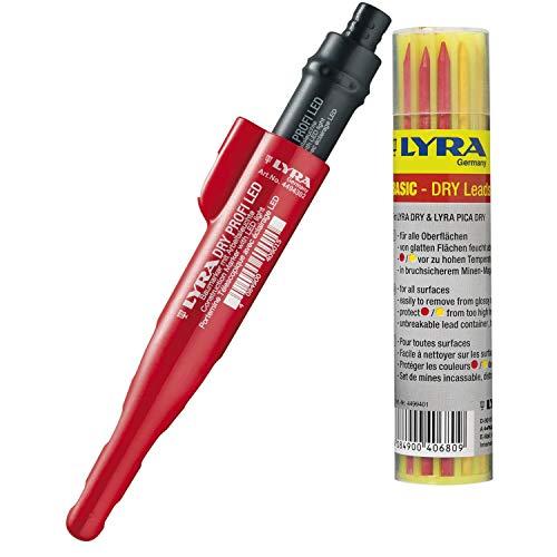 Tieflochmarker LYRA Dry Profi LED inkl Ersatzminen graphit, gelb und rot