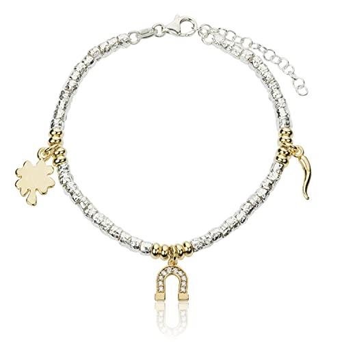 Pulsera Charms de herradura de trébol de la suerte | Estilo Dodo | Unisex | Bicolor | de plata 925 hipoalergénica oro blanco