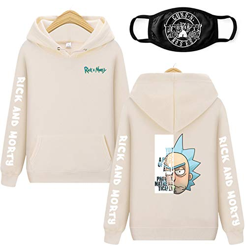 Sudadera con capucha para adulto, Rick & Morty, transpirable, con estampado 3D, para cosplay, disfraz divertido de dibujos animados, beige, XL