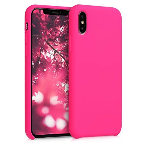 kwmobile Custodia Compatibile con Apple iPhone XS - Cover in Silicone TPU - Back Case per Smartphone - Protezione Gommata Rosa Shocking