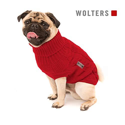 Wolters | Zopf-Strickpullover für Mops&Co in Rot | Rückenlänge 35 cm