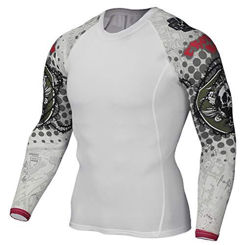 GUOCU Camiseta De Compresión Deportiva Para Hombre Ligero Ropa Deportiva De Manga Larga De Secado Rápido Correr Gym Entrenamiento Ciclismo,Blanco2,4XL