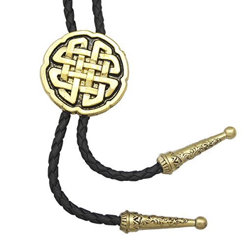 Vintage Gold RechicGu Western Celtic Trinity Cross Knot Leather Rodeo Wedding Necktie Bola Bolo Tie