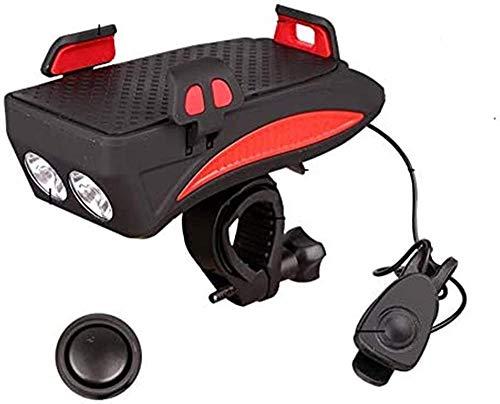 Kit de luz recargable para bicicleta de montaña, faro multifuncional 5 en 1, adecuado para montar a caballo nocturno y visibilidad, color rojo