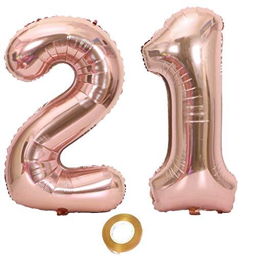 Luftballons Zahl 21, Nummer 21 Luftballon Rosegold Mädchen Luftballons 21. Geburtstag Folienballon, Zahl 21 Rose Gold Nummer 21 Ballons Große 32 Zoll Riese Heliumfolie Ballon