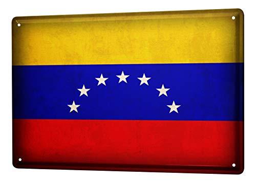 LEotiE SINCE 2004 Blechschild Dekoschild Küche Garage Welt Reise Venezuela Flagge Wand Deko Schild 20X30 cm