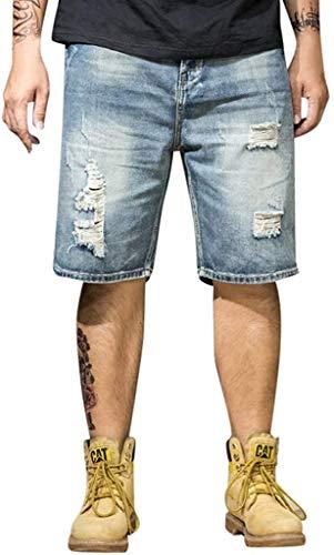 Hombre del Verano De Los Vaqueros Casual Modernas Pantalones De Los Pantalones Cortos Pantalones De Ciclista del Basculador De Los Pantalones Vaqueros Cortos Básico Chinos De Carga Destruidos