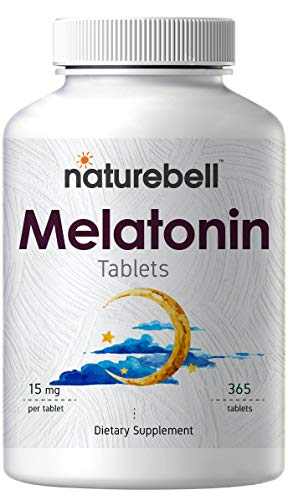 NatureBell Melatonin 15 mg 365 Tablets, for Restful Sleep, Anxiety and Insomnia Relief, No GMOs