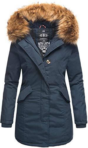 Marikoo Damen Winter Jacke Parka Mantel Winterjacke warm gefüttert Kapuze B808 [B808-Ka-Pri-Navy-Gr.S]